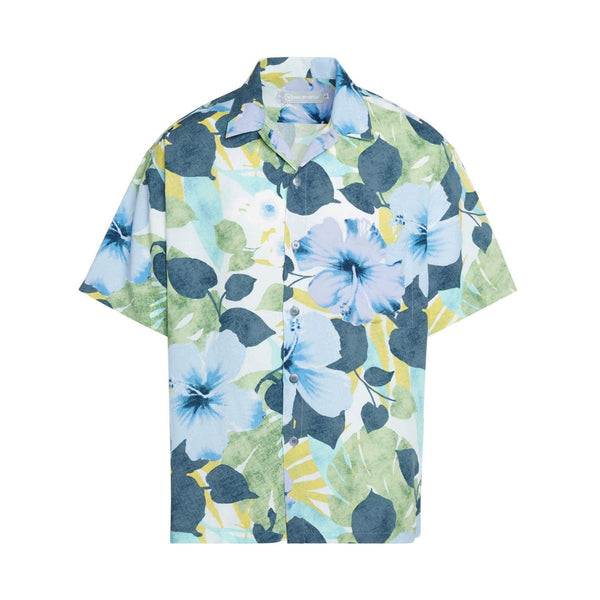 Men's Retro Shirt - Hibiscus Palm Indigo - jamsworld.com