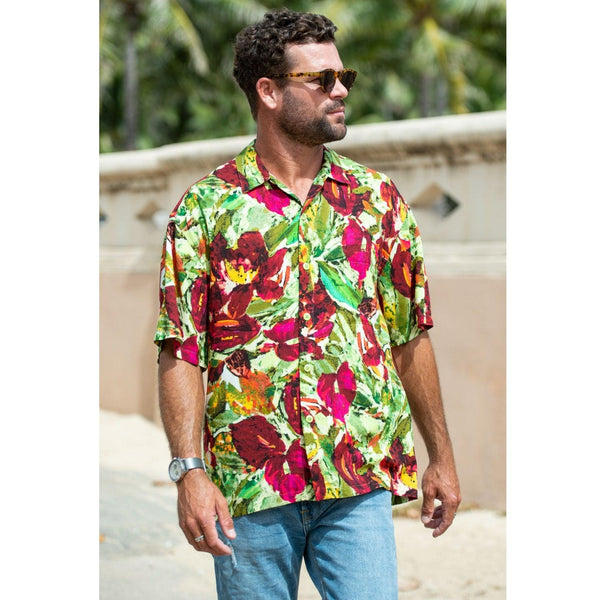 Men's Retro Shirt - Anthurium - jamsworld.com