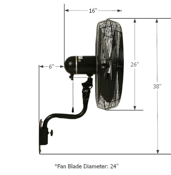 "24"" Oscillating Misting Fan w/ Mist Ring & Ruby Nozzles (Black) Dimensions of Wet Location Fan"