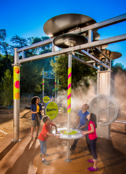 Misting Direct high pressure mist cooling system in action at a popular children's mueseum.