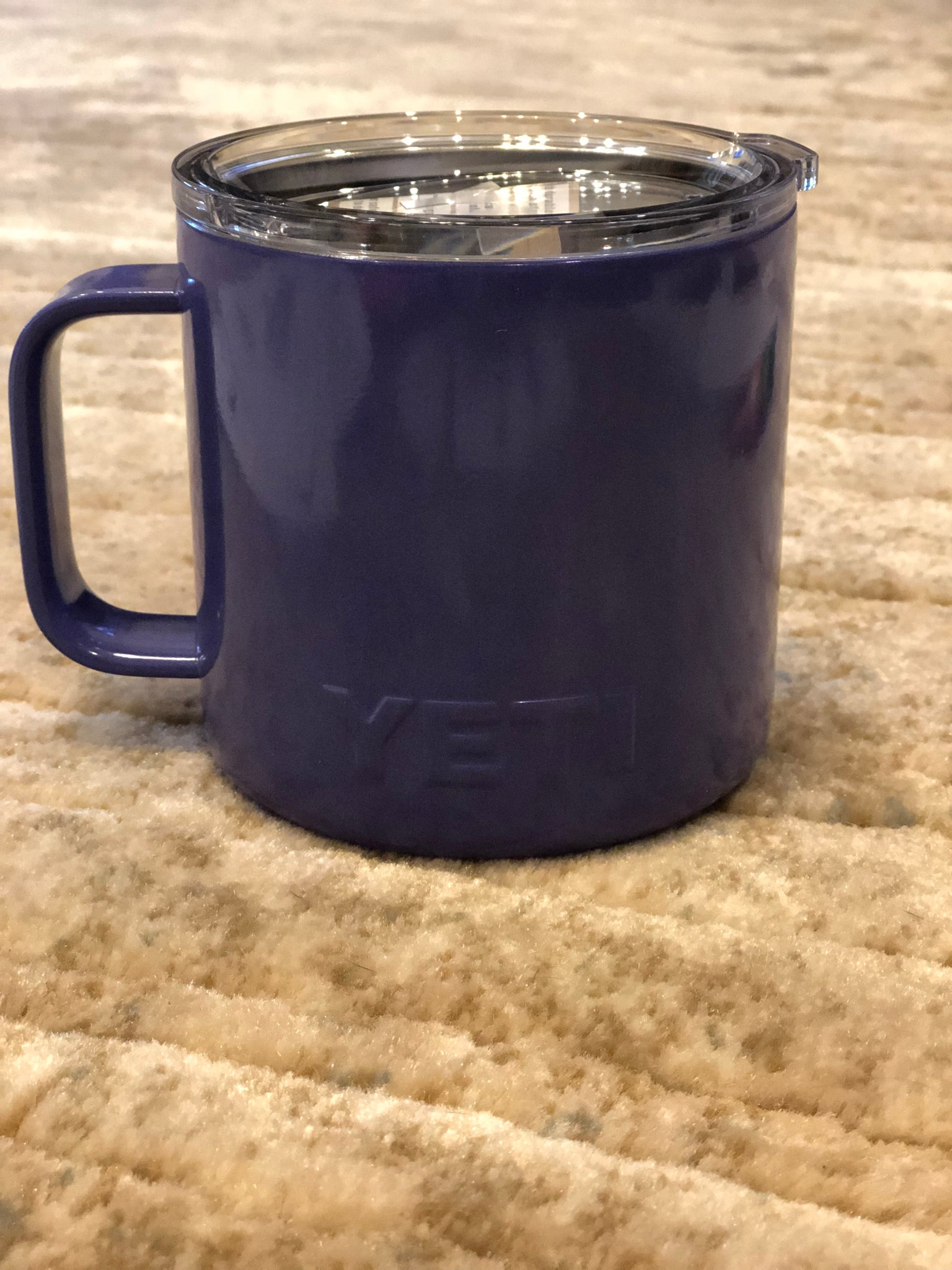 Custom Yeti rambler mug powder coated, white, purple, team