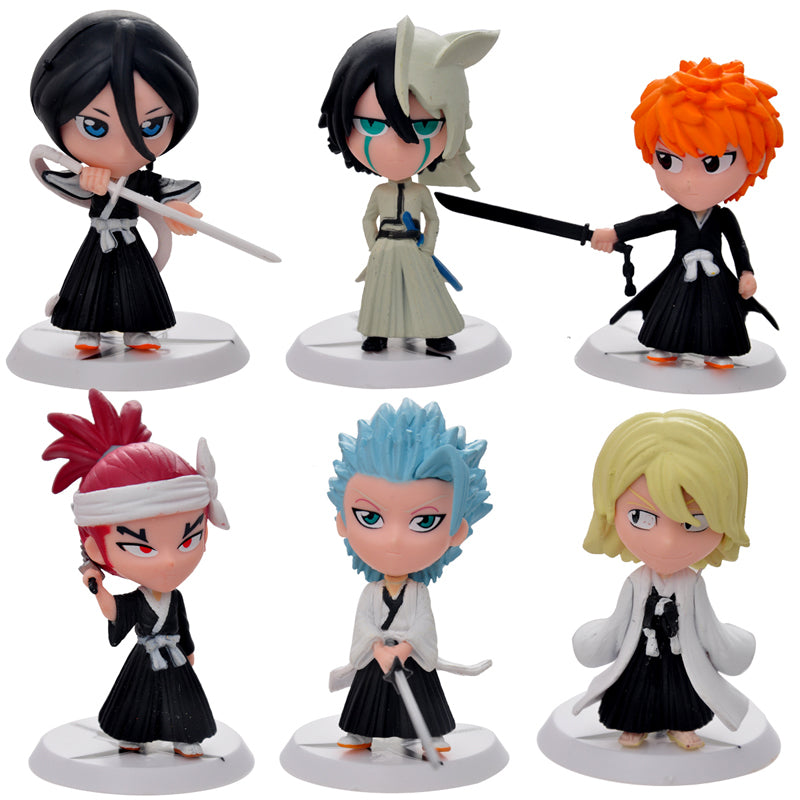 6pc/set Bleach Ichigo Ulquiorra cifer Renji Gin Action Figures Anime PVC