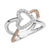 14K White And Rose Gold Diamond Heart Rope Ring