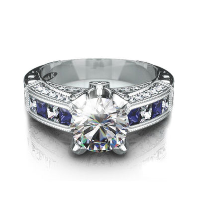 18K White Gold Ring With Diamonds And Sapphires