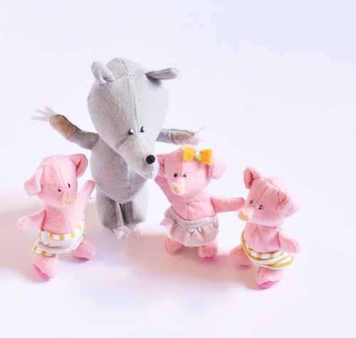 Three little piglets and Wolf set, Handmade, organic toys for kids