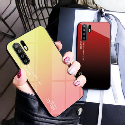 Luxury Hard Tempered Glass Gradient Protective Cover Case For Huawei