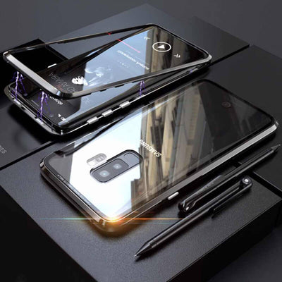 Magnetic Transparent Tempered Glass Two Sides Glass Cover Phone Case