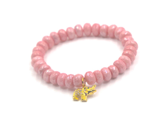 Pink Mystic Silverite with Gold Elephant Charm