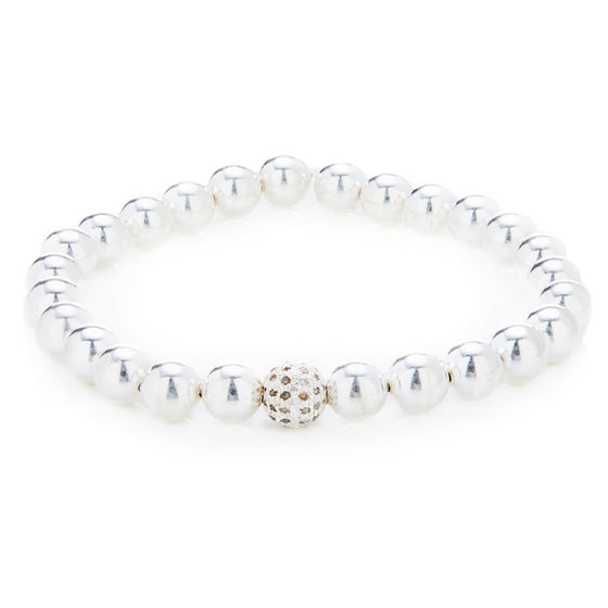 Silver Ball Bracelet with Pave Diamond