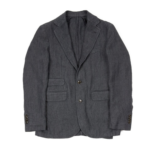 Man 1924 Kennedy Herringbone Linen Jacket in Grey
