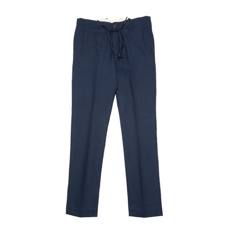 Man 1924 George Linen-Cotton Twill Trousers in Navy