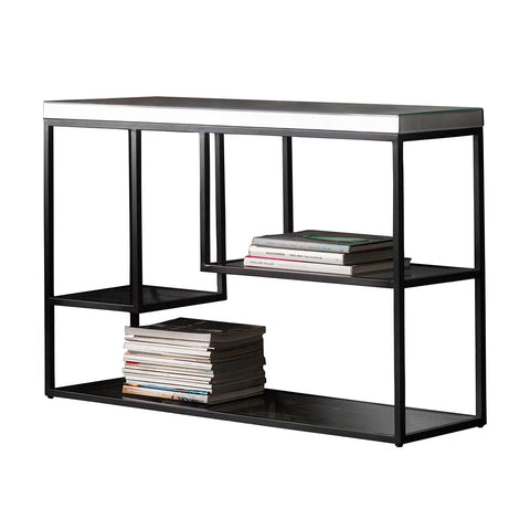 Gallery Pippard Mirrored Top Console Table in Black