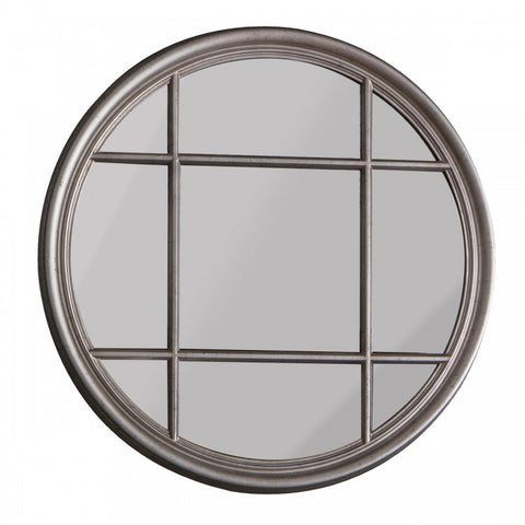 Gallery Eccleston Window Pane Round Mirror Silver