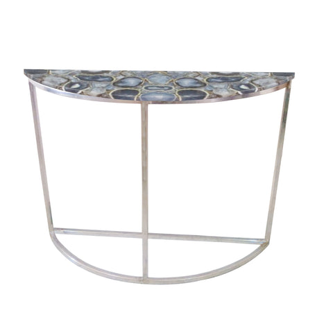 Libra Agate Crescent Console Table On Nickel Frame