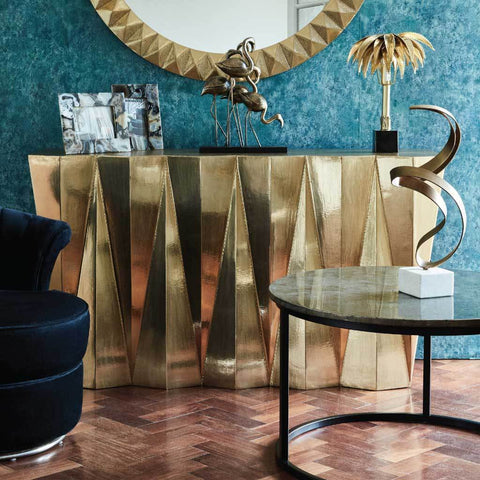 Libra Gold Brass Embossed Metal Console Table