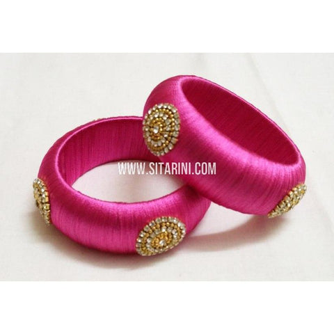 Designer Silk Thread Bangles-pink-Set of 2-Sitarini-STB119