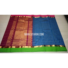 Fancy Kuppadam Saree with Checks-Blue-USHKFC102