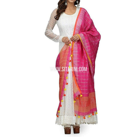 Handloom Linen Checks Dupatta with Zari-Pink-Sitarini-LWTLD101