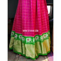 Ikkat Lehenga-Full Body Checks-Parrot Green and Magenta-Sitarini-PRHIPL142