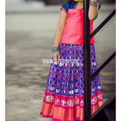 Ikkat Pattu Lehenga-Pink and Royal Blue-Upto 7years-PSHIPLM113