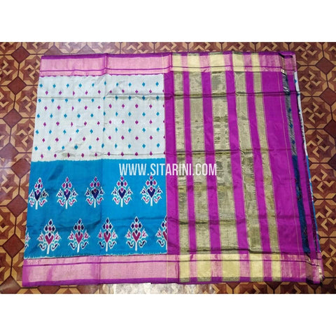 Ikkat Pattu Saree-White and Pink-Sitarini-PRHIPS319
