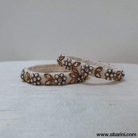 Maggam Work Bangles-Cream-Thin-Sitarini