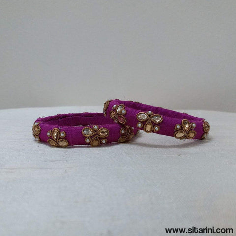 Maggam Work Bangles-Purple-Thin-Sitarini