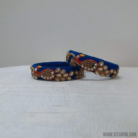 Maggam Work Bangles-Royal Blue-Medium-Sitarini