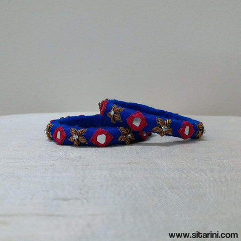 Maggam Work Bangles-Royal Blue-Thin-Sitarini