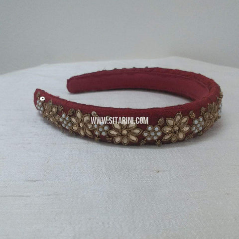 Maggam Work Broad Hair Band-Maroon-Sitarini-SMBHB105