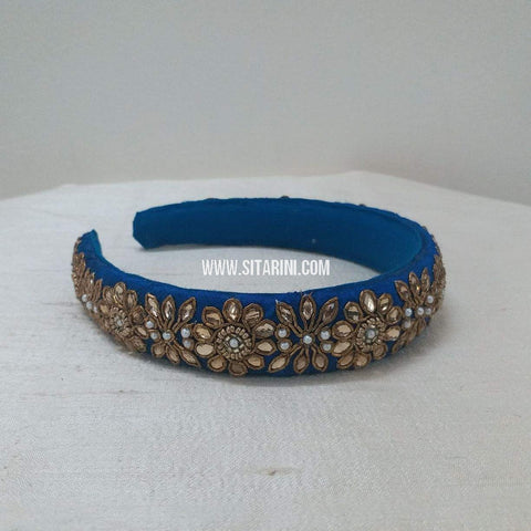 Maggam Work Broad Hair Band-Royal Blue-Sitarini-SMBHB100