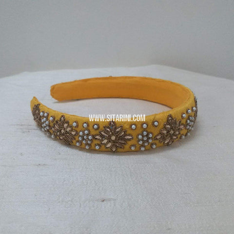 Maggam Work Broad Hair Band-Yellow-Sitarini-SMBHB103