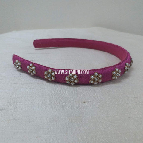 Maggam Work Medium Hair Band-Pink-Sitarini-SMMHB100
