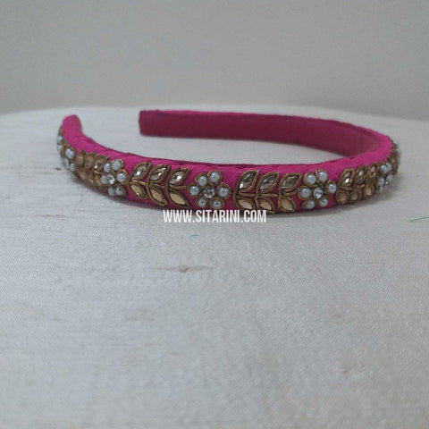 Maggam Work Medium Hair Band-Pink-Sitarini-SMMHB111