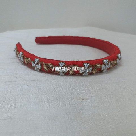 Maggam Work Medium Hair Band-Red-Sitarini-SMMHB105