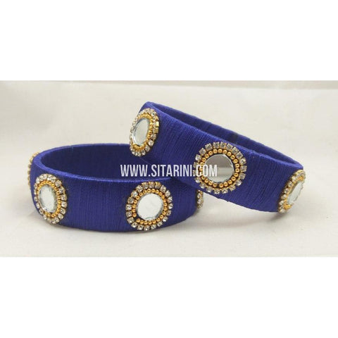 Silk Thread Bangles-blue and white-Set of 2-Sitarini-STB103