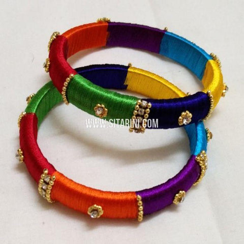 Silk Thread Bangles-Multicolor-Set of 2-Sitarini-SITSTB126