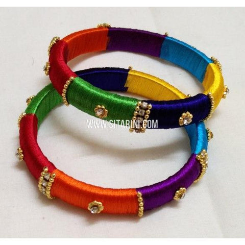 Silk Thread Bangles-Multicolour-Set of 2-Sitarini-STB111
