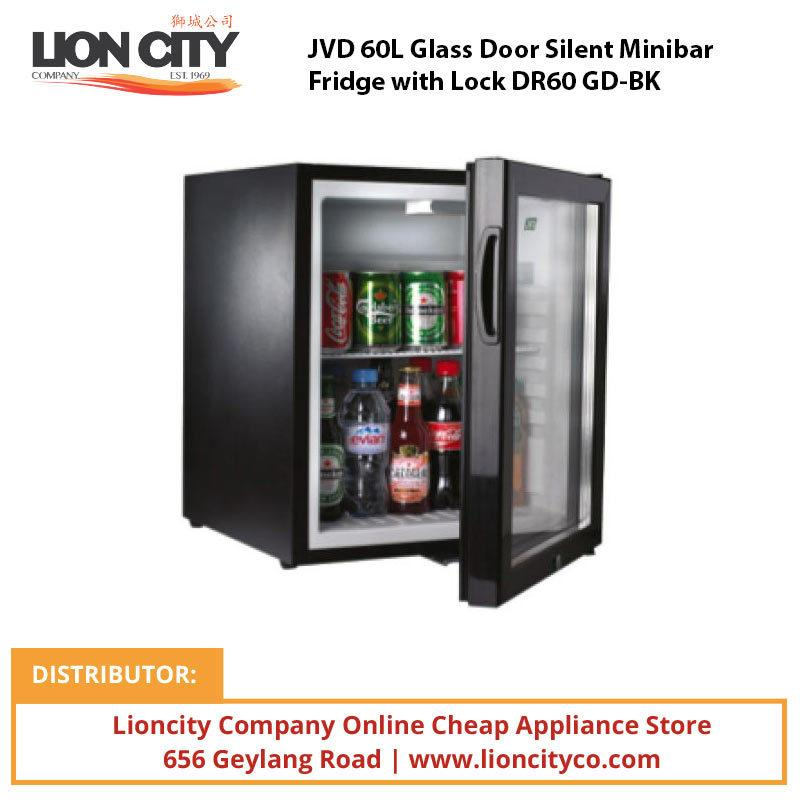 JVD 60L Glass Door Silent Minibar Fridge with Lock DR60 GD-BK - Lion City Company