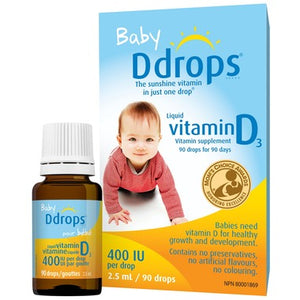 Baby Ddrops Liquid Vitamin D3 400 IU per drop 90 Drops / 2.5 mL