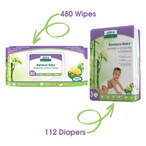 Aleva Naturals Bamboo Size 3 Diaper and Wipes Bundle 112 Diapers and 480 Wipes