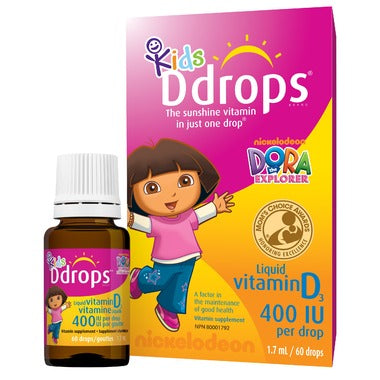 Kids Ddrops Liquid Vitamin D3 400 IU per drop  60 Drops / 1.7 mL