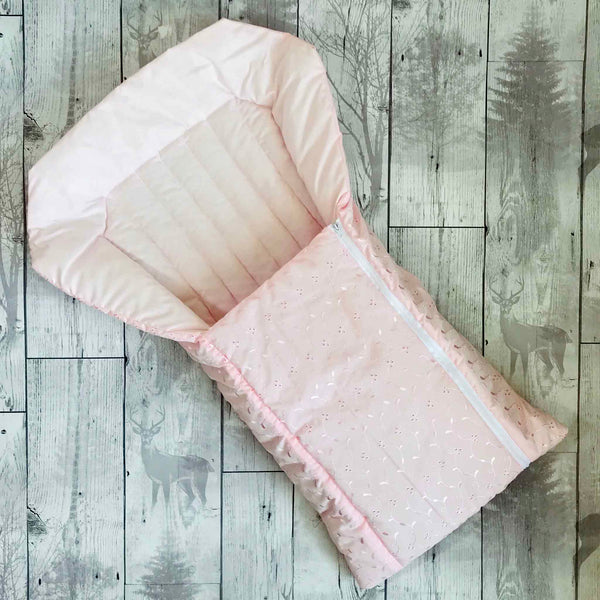 Baby nest - broderie anglaise - pink