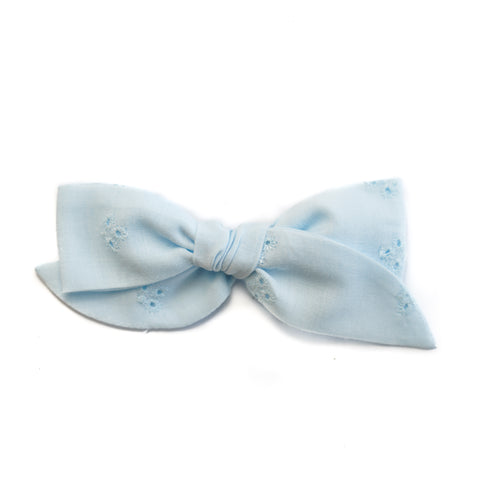 Willow - Vintage Eyelet Blue Bow