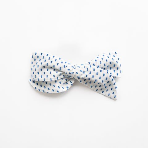 Frances - Blue Swiss Dot Bow