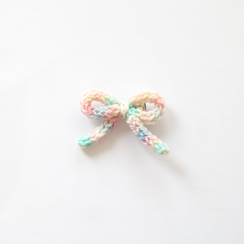 Hand-tied Crochet Bow - Amelia Cotton Candy
