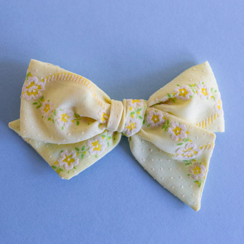 Aviana - Vintage Flocked Yellow Floral Bow - All Styles