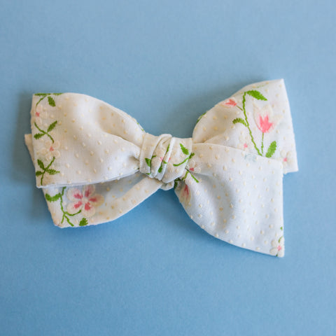Peyton - Vintage Flocked White Floral Bow - All Styles