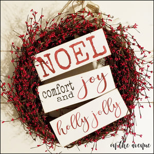 NOEL/Comfort & Joy Signs Ornament Set