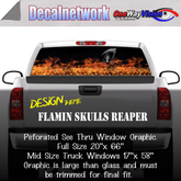 Flamin Skulls Reaper Window Graphic Perforated rear window film truck Suv glass